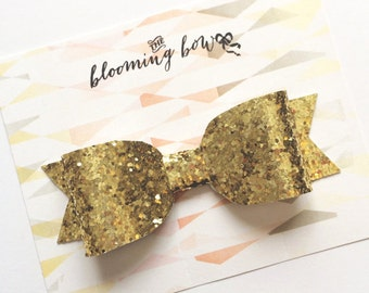 Large Gold Glitter Bow Hair Clip Baby Kids Adult
