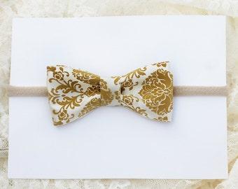 Allie Headband - Nylon Headband with White and Gold Bow