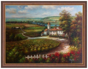 Hand Painted Italian 36x48 Stretched Canvas Tuscany Landscape Vineyard with Homes and Mountains Oil Painting stretched only or framed