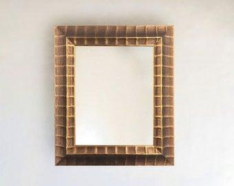 Wavy Bronze Copper Metallic Framed Mirror | Sizes: inside 8x10 24x36 outside  (12 x 14) & (28 x 40)