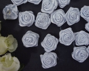 50 pcs Light Grayish Blue Satin Flower Appliques 1.2cm width - best for doll decoration C59