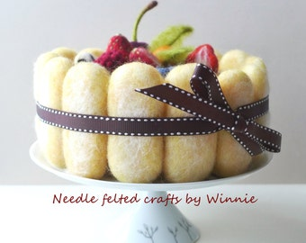 Mixed Berries Tiramisu Ladyfinger cake Needle felted food handmade OOAK