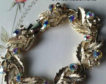 Aurora Borealis Bracelet Vintage Blue Leaves