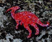Dinosaur Brooch Sparkle, Glitter, Red Hand-Painted, Accessories, Prehistoric, Jurassic Park, Jurassic World, Glittery, Quirky
