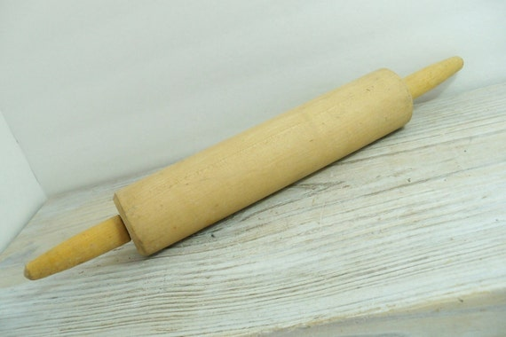Vintage Wooden Rolling Pin Farmhouse Kitchen Utensil 1950s
