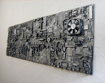 Industrial art assemblage. Repurposed electronics computers. Unique gift for men nerds techies. Man cave office wall art. 15x48