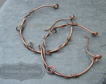 Large hoop earrings ~ Over sized hoops ~ Hoop earrings ~ Copper hoop earrings ~ Unique hoops ~ Gift for her ~ Mothers day gift ~ Copper ~