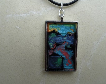 Multi color rectangle pendant hand painted necklace