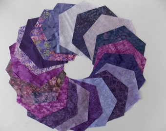 Purple Batik Fabric 30 Piece 8 Inch Hexagon Quilt Fabric AccuQuilt Studios Die Cut High Quality Cotton
