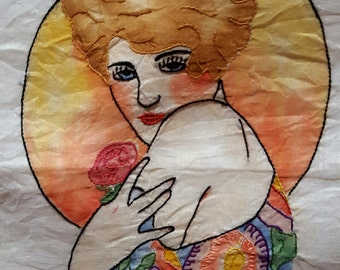 Antique Hand Embroidered Hand Tinted Flapper Art Deco Pillowcase