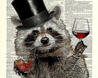 Raccoon fun art print. Mr. Raccoon with top hat and wine glass. Vintage book page art print.  Print on book page.