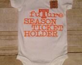 Tennessee Vol Power T Future Season Ticket Holder Personalized Bodysuit, Burp Cloth, Bib, Baby Boy Tennessee
