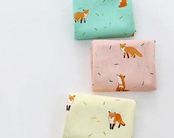 Fox Pattern Digital Printing Cotton Fabric by Yard - 3 Colors Selection