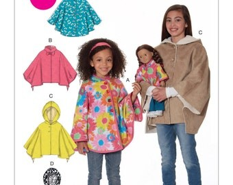 """McCall's Sewing Pattern M7460 Children's/Girls'/18"""" Dolls' Ponchos with Stand-Up Collar or Hood"""