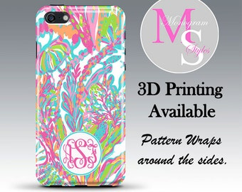 Monogram iPhone 7 Case Personalized Phone Case Lilly Pulitzer Inspired Monogrammed Case Iphone 6, 4, 4S iPhone 5, 5S, 5C iPhone 6 Plus #2634