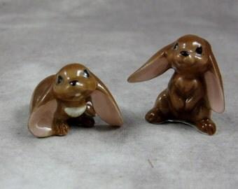 Hagen Renaker Lop Eared Rabbit Miniatures - Ceramic Figurines - Bunny Bunnies