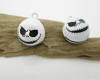 White Metal Goblin Jingle Charm, Halloween Bead, Ghost Charm, Earring Dangle, Bracelet Charm 25mm (4)