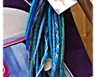 12 Merino Wool Double Ended Wrapped Sea Shell Dreadlock medium length 18 inches