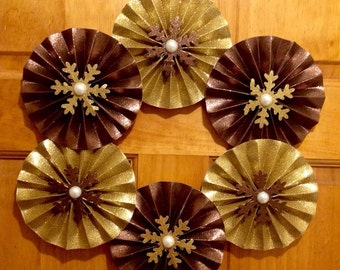 """18"""" gold and bronze glitter paper rosette wreath with snowflake accents"""