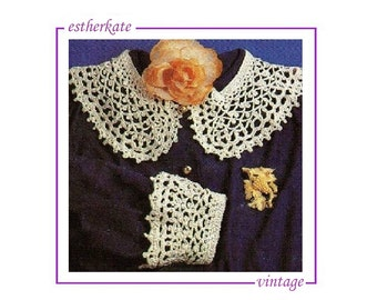 VINTAGE crochet pattern pdf, crochet collars and cuffs, INSTANT DOWNLOAD