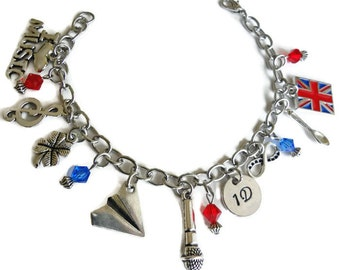 One Direction charm bracelet, Jewelry inspired by 1D