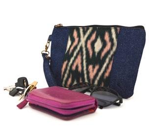 kimono fabric clutch, geometric pouch, travel pouch, fabric pouch, makeup bag, clutch wallet, indigo pouch, bag in bag