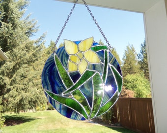 Round Stained Glass Panel, in bright blue and yellow