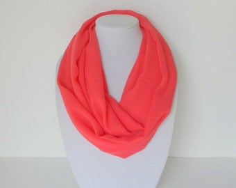 Coral infinity scarf, Summer Scarf, Lightweight Infinity scarf, Chiffon Scarf