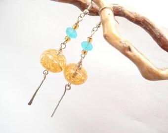 Modern Amber Dangle Earrings Long Beaded Earrings Crackle Vintage Amber Color Beads Turquoise Sanded Faceted Beads Earrings