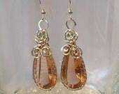 Silver Wrapped Peach Drop Earrings