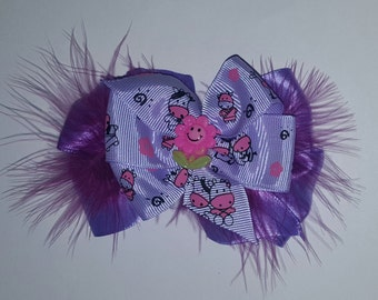 Cow Hair Bow - Cow Double Layer Pinwheel