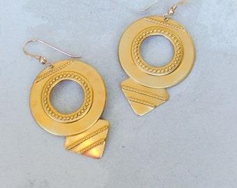 Raw Brass Tribal Earrings