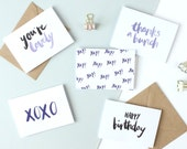 Mini A7 greetings card - hand lettered cards - brush lettered cards - happy birthday - thank you card - congratulations card