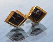 1970s Cufflinks  Gold Tone Fittings with Dark Brown Faux Leather insert Panels Diamond Shape   Gift Box