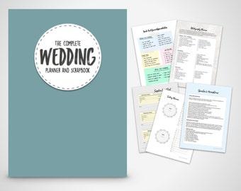 Wedding Planner Binder Printable Slate Blue Organiser Folder Instant Digital Download