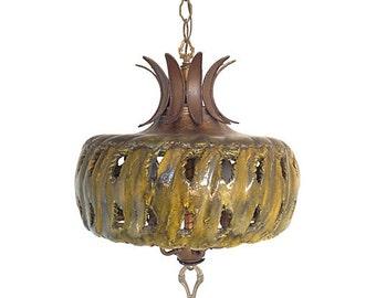 Vintage ceramic chandelier floral ceramic and brass 1960s ceramic chandelier aloadofball Image collections