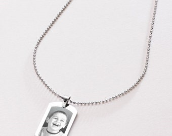 Photo Engraved Dogtag Necklace. Engraving of Any Image. Personalised Jewellery for Men.