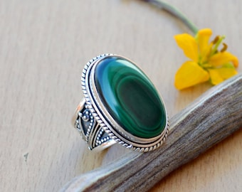 Natural Malachite Gemstone Ring, Solid 925 Sterling Silver Ring, Bezel Set Ring, Green Bold Ring, Solitaire Ring, Handmade Gift Ring Size 6