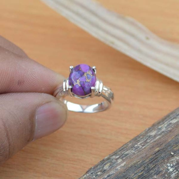 Purple Turquoise Gemstone Ring, 925 Sterling Silver Jewelry, Designer Ring, Unique Birthday Gift Ring, Purple Artisan Gift Ring Size 6