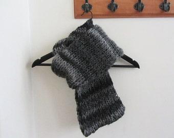 Knit scarf, grey, brown, handmade knitwear