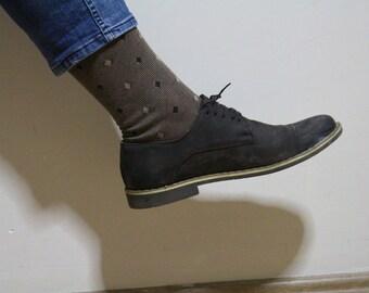 Brown Beige Daimond Mens Mid Calf %100 Cotton Lisle Casual Dress Socks