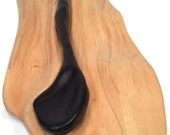 Wood Spoon and Fitted Spoon Rest, Wood Spoon and Wood Rest, Hand-Carved Ebony, Ebony Spoon Maple Rest, Repurposed Wood Spoon - Free Shipping