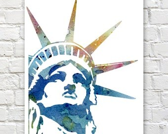 Statue of Liberty - Art Print - Abstract Watercolor Painting - Wall Decor