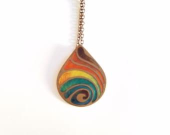 Vintage Teardrop Rainbow Enamel Pendant Necklace