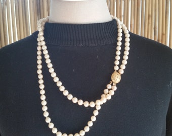 Vintage Costume Double Strand of Pearls with Gold and Rhinestone Clasp