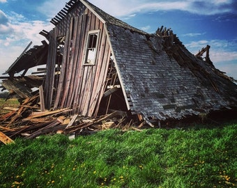 5 x 5 Fine Art Photo Print - Fallen Barn