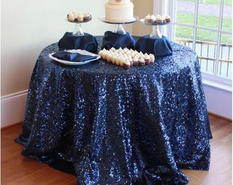 Navy Blue Sequin Table Runner, Navy Blue Sequin Applique, Navy Blue Sequin  Tablecloth,