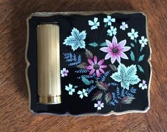 Vintage Stratton Powder Compact and Lipstick, 1950's, excellent condition, Black Floral Enamel Top