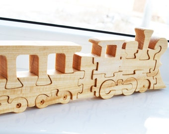Wooden Train Puzzle - montessori - Wooden toy - toys for kids - children puzzle - train, railroad - Educational toys - Kids gifts
