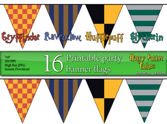 party banner flags in harry potter colors printable by piotrkol. Black Bedroom Furniture Sets. Home Design Ideas